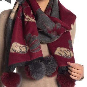 La Fiorentina NWT  Fox Fur Pom Pom Wrap Grey/Red